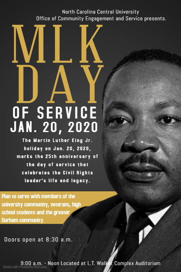 Mlk Day Of Service 2020 Volunteer North Carolina Central University